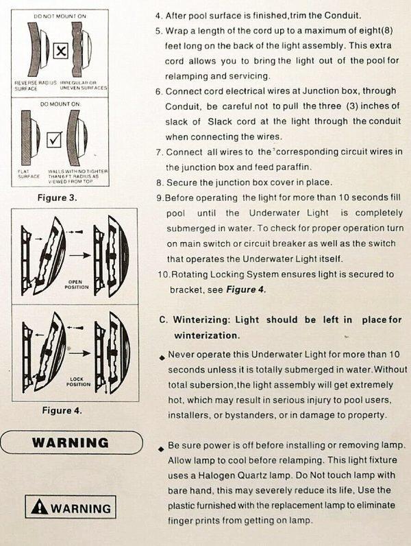 manual 2 luces led para piscina
